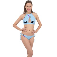 Woman Girl Lady Female Young Cross Front Halter Bikini Set