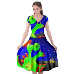 Dragon Grisu Mythical Creatures Cap Sleeve Wrap Front Dress