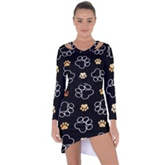 Dog Pawprint Tracks Background Pet Asymmetric Cut Out Shift Dress