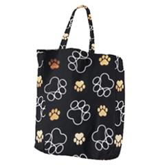 Dog Pawprint Tracks Background Pet Giant Grocery Zipper Tote