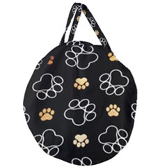 Dog Pawprint Tracks Background Pet Giant Round Zipper Tote