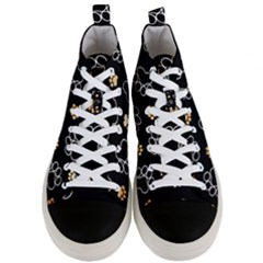 Dog Pawprint Tracks Background Pet Men s Mid Top Canvas Sneakers