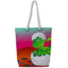 Dinosaur Dino Baby Dino Lizard Full Print Rope Handle Tote (small)