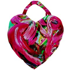 Flamingo   Child Of Dawn 5 Giant Heart Shaped Tote by bestdesignintheworld