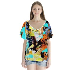 Fragrance Of Kenia 4 V Neck Flutter Sleeve Top