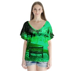 Hot Day In Dallas 24 V Neck Flutter Sleeve Top