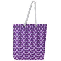 Scales2 White Marble & Purple Denim Full Print Rope Handle Tote (large) by trendistuff