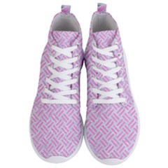 Woven2 White Marble & Pink Colored Pencil (r) Men s Lightweight High Top Sneakers by trendistuff