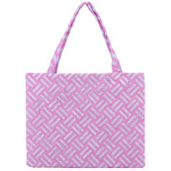Woven2 White Marble & Pink Colored Pencil Mini Tote Bag by trendistuff