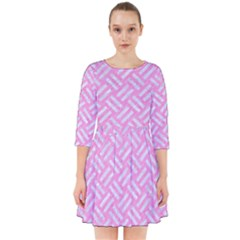 Woven2 White Marble & Pink Colored Pencil Smock Dress