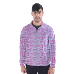 Woven1 White Marble & Pink Colored Pencil (r) Windbreaker (men)
