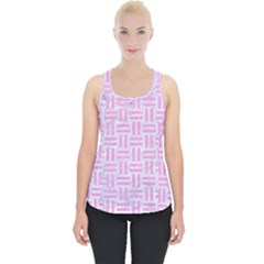Woven1 White Marble & Pink Colored Pencil (r) Piece Up Tank Top by trendistuff
