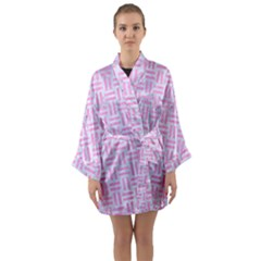 Woven1 White Marble & Pink Colored Pencil (r) Long Sleeve Kimono Robe