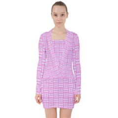 Woven1 White Marble & Pink Colored Pencil V Neck Bodycon Long Sleeve Dress