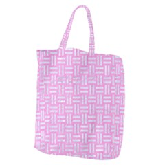 Woven1 White Marble & Pink Colored Pencil Giant Grocery Zipper Tote by trendistuff