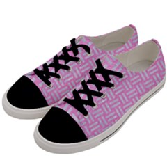 Woven1 White Marble & Pink Colored Pencil Men s Low Top Canvas Sneakers by trendistuff