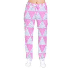 Triangle3 White Marble & Pink Colored Pencil Velvet Drawstring Pants