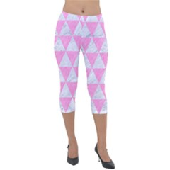 Triangle3 White Marble & Pink Colored Pencil Lightweight Velour Capri Leggings