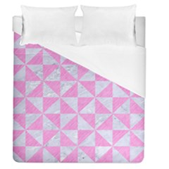 Triangle1 White Marble & Pink Colored Pencil Duvet Cover (queen Size) by trendistuff