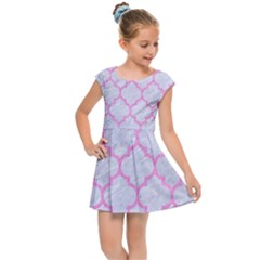 Tile1 White Marble & Pink Colored Pencil (r) Kids Cap Sleeve Dress