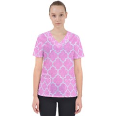 Tile1 White Marble & Pink Colored Pencil Scrub Top