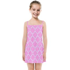 Tile1 White Marble & Pink Colored Pencil Kids Summer Sun Dress