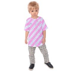 Stripes3 White Marble & Pink Colored Pencil (r) Kids Raglan Tee
