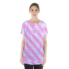 Stripes3 White Marble & Pink Colored Pencil Skirt Hem Sports Top by trendistuff
