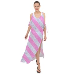 Stripes3 White Marble & Pink Colored Pencil Maxi Chiffon Cover Up Dress