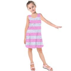 Stripes2white Marble & Pink Colored Pencil Kids  Sleeveless Dress