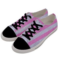 Stripes2white Marble & Pink Colored Pencil Men s Low Top Canvas Sneakers by trendistuff