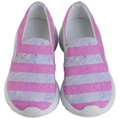 Stripes2white Marble & Pink Colored Pencil Kid s Lightweight Slip Ons