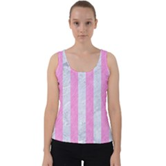 Stripes1 White Marble & Pink Colored Pencil Velvet Tank Top