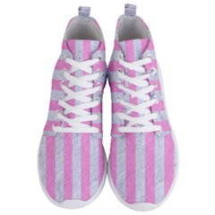Stripes1 White Marble & Pink Colored Pencil Men s Lightweight High Top Sneakers by trendistuff