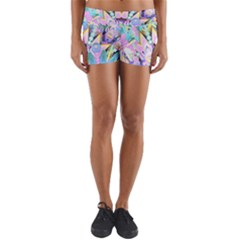 Floral Pattern Tropical Hawaiian Retro  Yoga Shorts by CrypticFragmentsColors