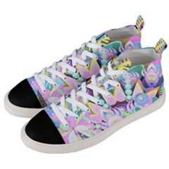 Floral Pattern Tropical Hawaiian Retro  Men s Mid Top Canvas Sneakers by CrypticFragmentsColors
