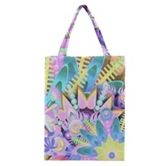 Floral Pattern Tropical Hawaiian Retro  Classic Tote Bag by CrypticFragmentsColors