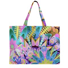Floral Pattern Tropical Hawaiian Retro  Zipper Mini Tote Bag by CrypticFragmentsColors