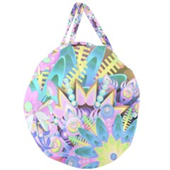 Floral Pattern Tropical Hawaiian Retro  Giant Round Zipper Tote