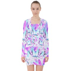 Hawaiian Retro Tropical Floral Print Pink Blue V Neck Bodycon Long Sleeve Dress
