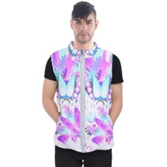 Hawaiian Retro Tropical Floral Print Pink Blue Men s Puffer Vest by CrypticFragmentsColors