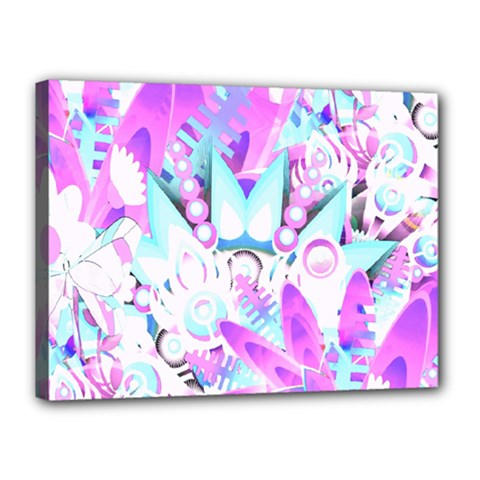 Hawaiian Retro Tropical Floral Print Pink Blue Canvas 16  X 12  by CrypticFragmentsColors