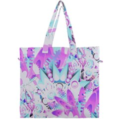 Hawaiian Retro Tropical Floral Print Pink Blue Canvas Travel Bag by CrypticFragmentsColors