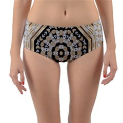 Wood Butterflies And Wood Hearts In Harmony Reversible Mid Waist Bikini Bottoms