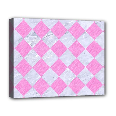 Square2 White Marble & Pink Colored Pencil Deluxe Canvas 20  X 16   by trendistuff