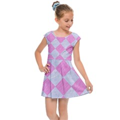 Square2 White Marble & Pink Colored Pencil Kids Cap Sleeve Dress
