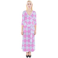 Square2 White Marble & Pink Colored Pencil Quarter Sleeve Wrap Maxi Dress