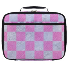Square1 White Marble & Pink Colored Pencil Full Print Lunch Bag by trendistuff
