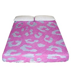 Skin5 White Marble & Pink Colored Pencil (r) Fitted Sheet (california King Size) by trendistuff