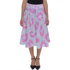 Skin5 White Marble & Pink Colored Pencil Perfect Length Midi Skirt by trendistuff